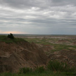 A cloudy start to the day.  Heading out of the Badlands.