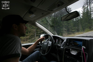 Me driving the van up Mt. Rainier.